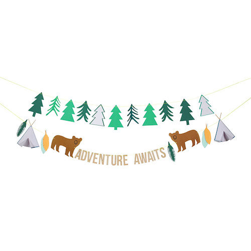 adventure awaits paper party garland with teepees, trees and outdoorsy bears