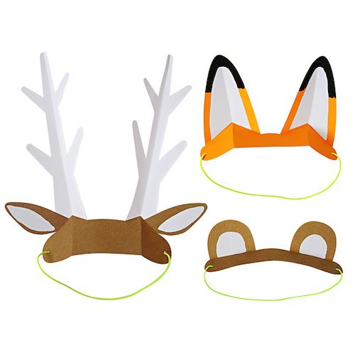 Farm Animal Party Hats Including Bear, Fox and Deer Hats