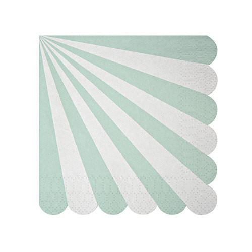 aqua blue party napkins with white stripes and a scalloped edge