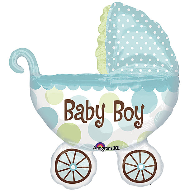 an inflated blue buggy balloon that says baby boy