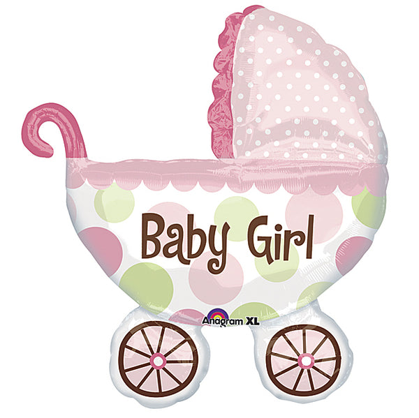 pink buggy balloon that says baby girl