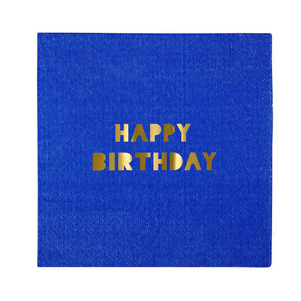 blue birthday napkins marked with happy birthday in gold foil