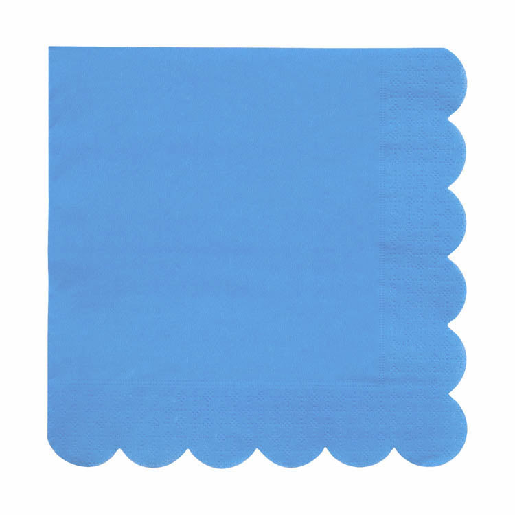 Blue napkins with a scalloped edge