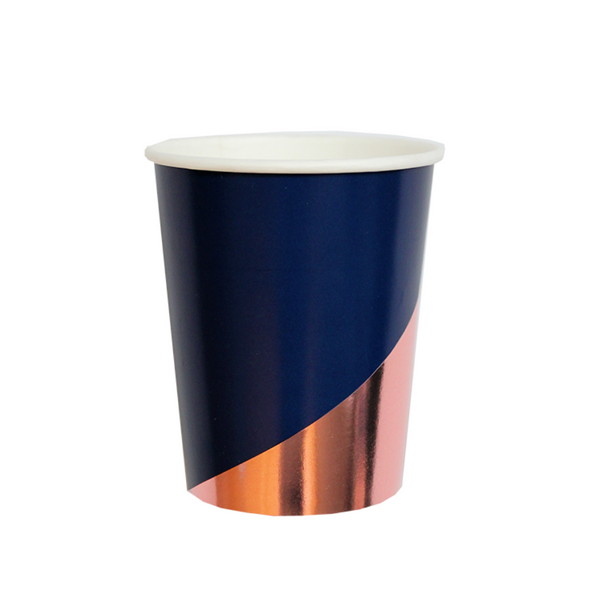 dark blue and rose gold paper party cups