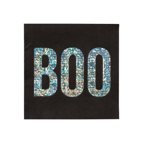 Boo Party Napkins in black and silver foil
