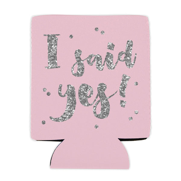 "Pink and Sparkly ""I Said Yes"" Bride Koozie"