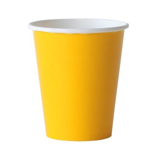 bright yellow paper party cups