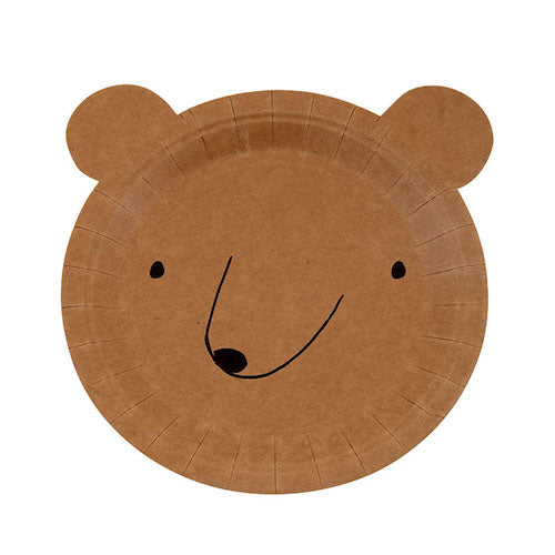 brown bear paper party plates