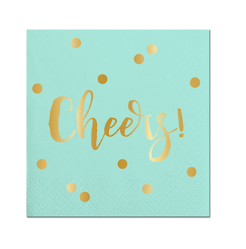 Mint green cocktail napkins that read cheers in gold foil