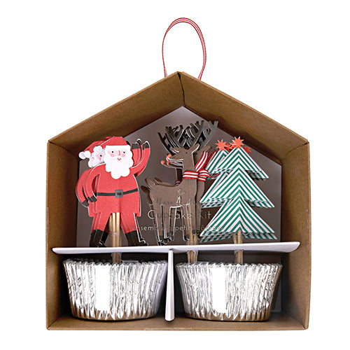 Christmas Cupcake Kit with liners and holiday toppers