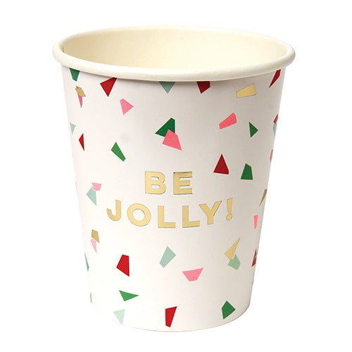 festive red, green and gold holiday cups that say be jolly