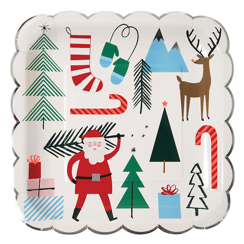 Christmas Plates designed with Santa, reindeer and Christmas trees