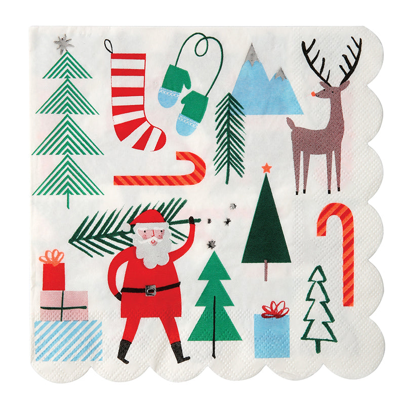 Christmas Party Napkins with iconic figures such as Santa and reindeer