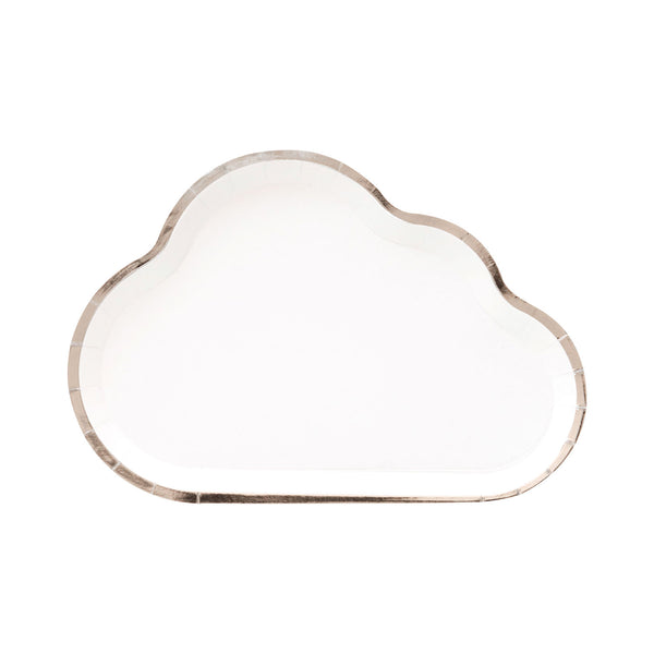 white cloud shaped party plates outlined in silver foil