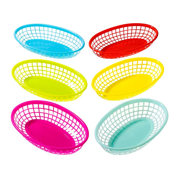 colorful plastic food baskets