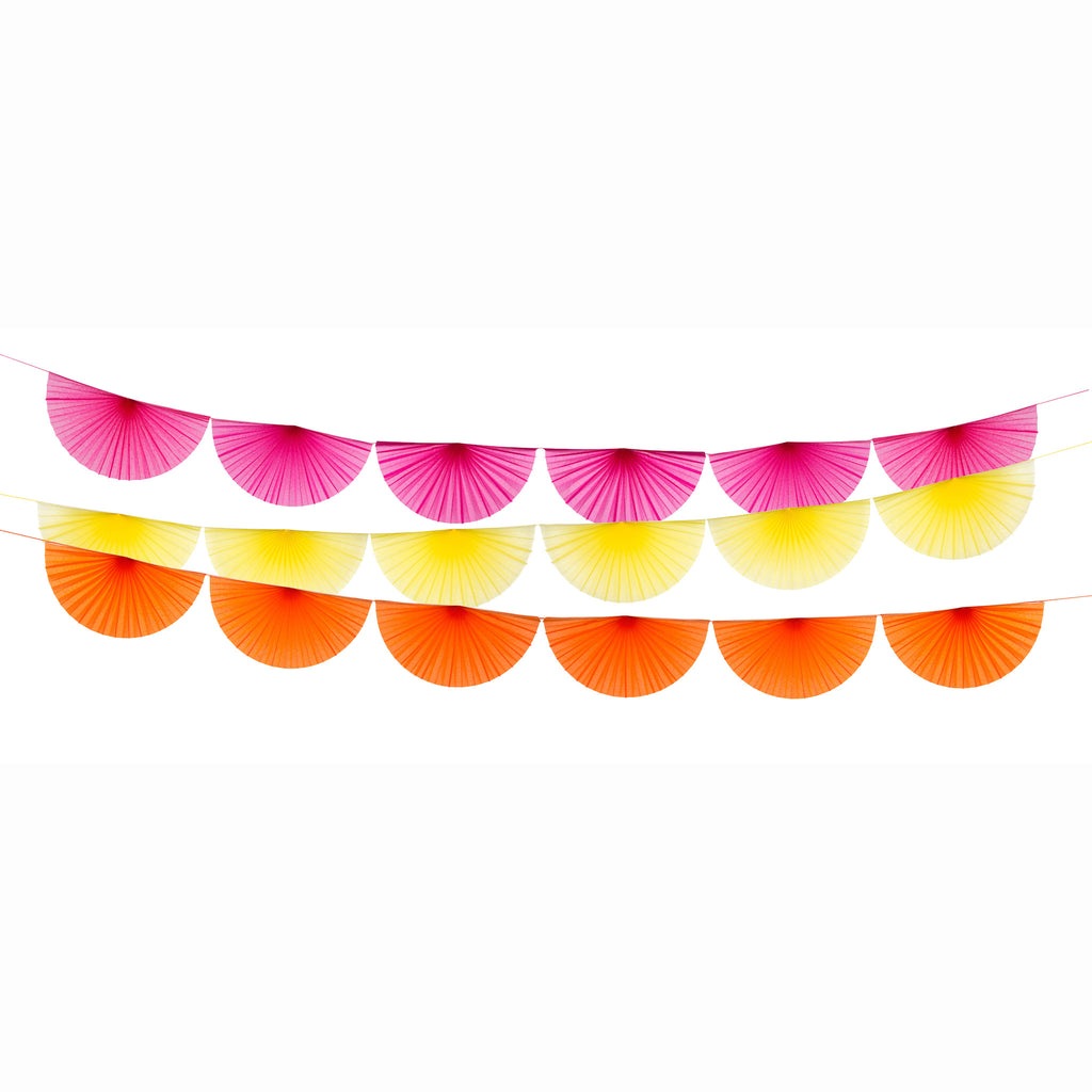 three colorful fan garlands in pink, yellow and orange