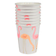 a stack of flamingo party cups