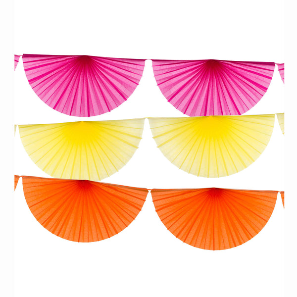 3 colorful fan garlands in pink, yellow and orange