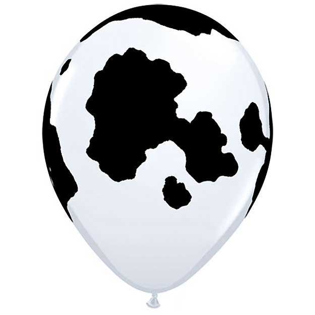 cow latex balloons filled with helium
