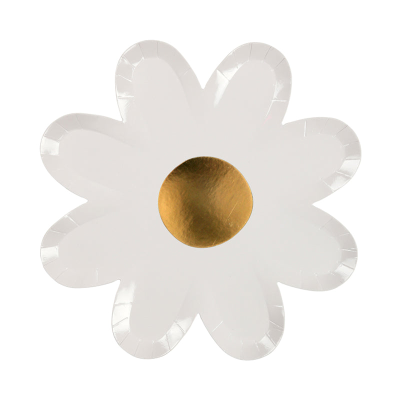white and gold foil daisy plates