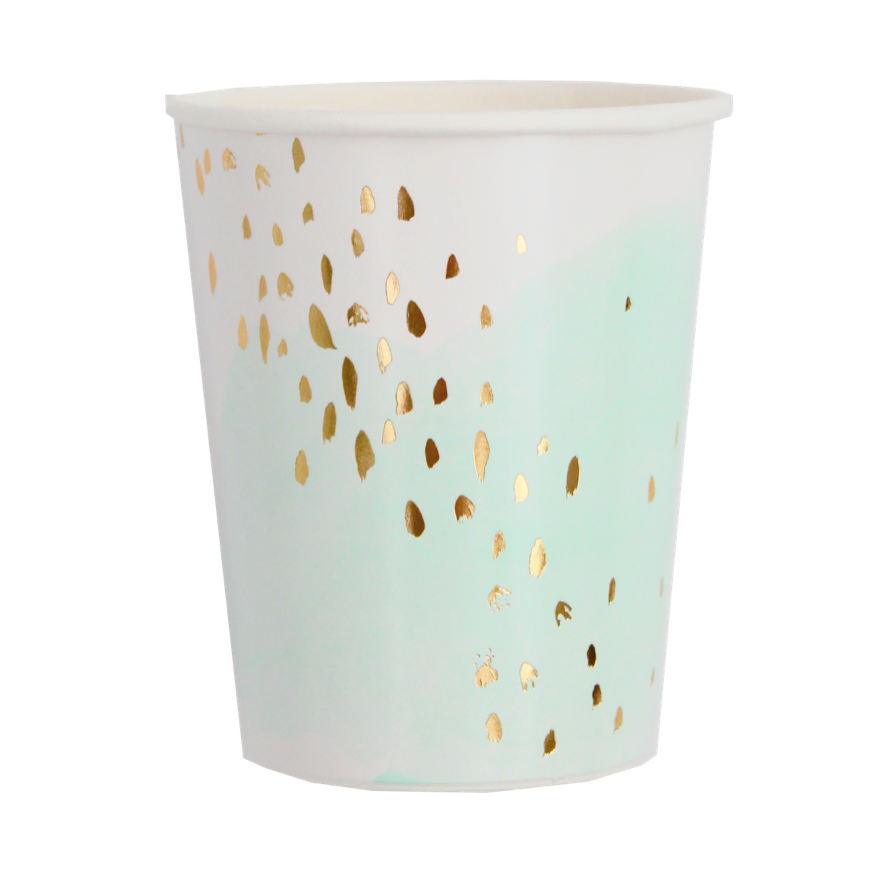 Mint Green Watercolor Party Cups with Gold Dots