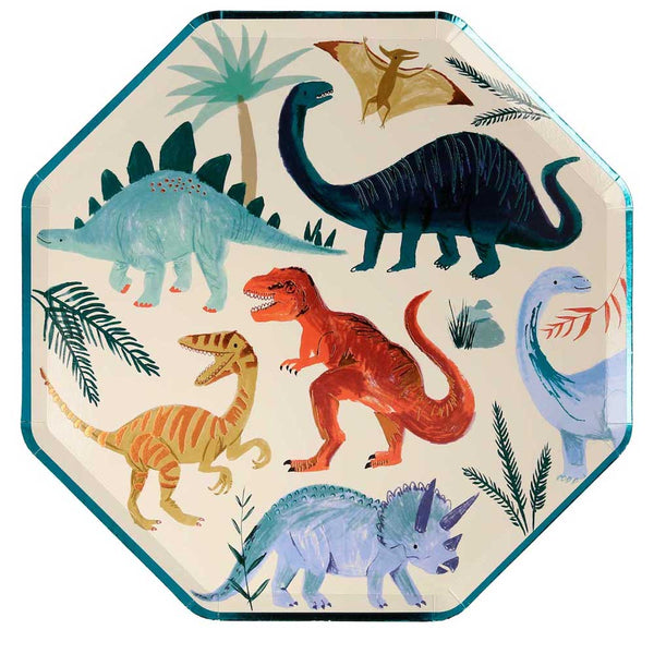 colorful party dinosaur plates