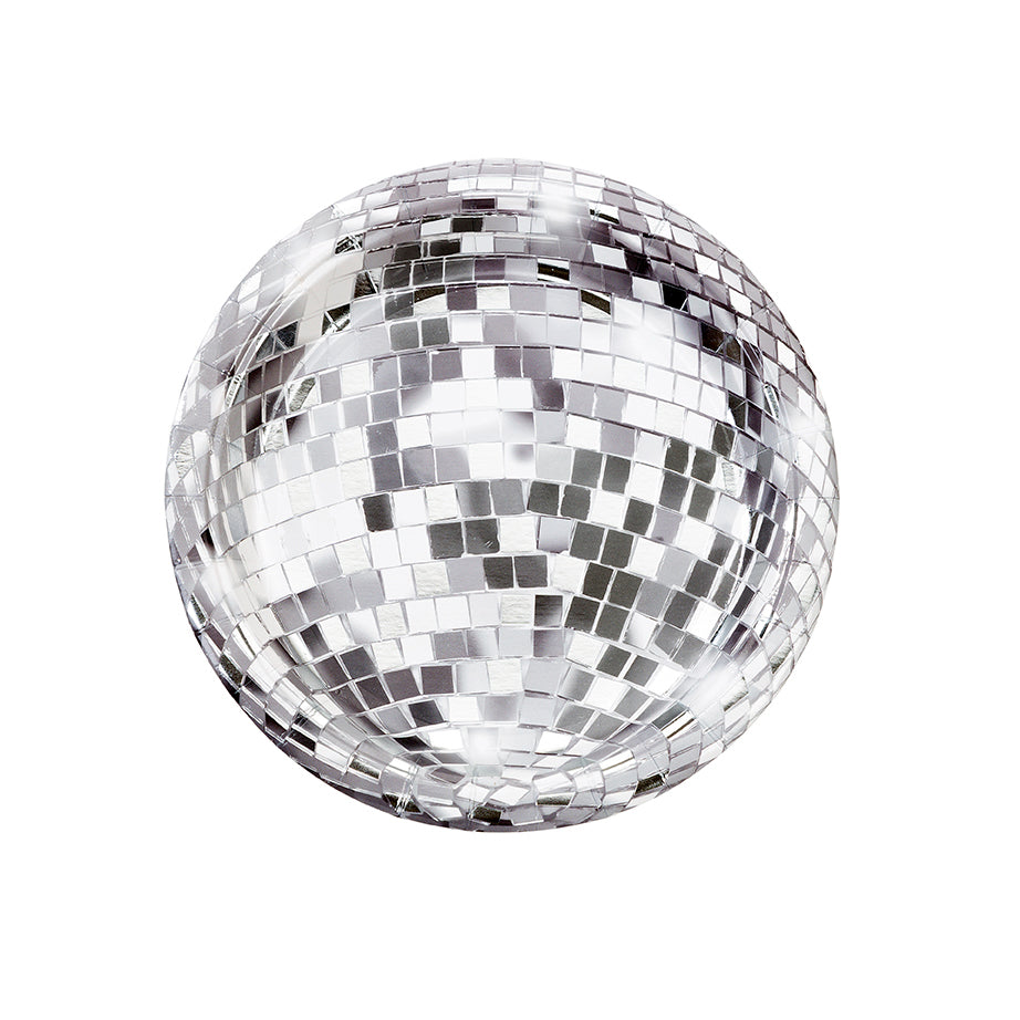 Disco Ball Party Plates with Silver Foil Detailing