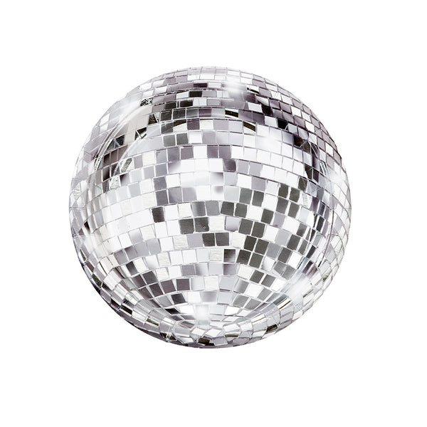 silver foil disco ball paper party plates