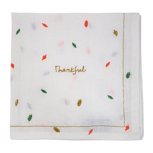 White Thankful Linen Napkins with Fall Leaves
