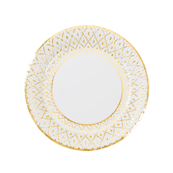 gold foil and white paper party plates