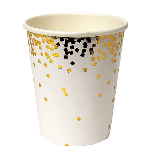 white gold confetti cups
