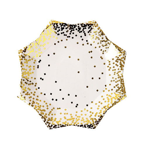 gold confetti paper party plates in the shape of a star