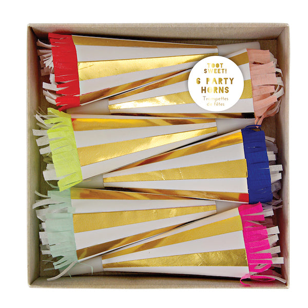 multicolor party horns in a package