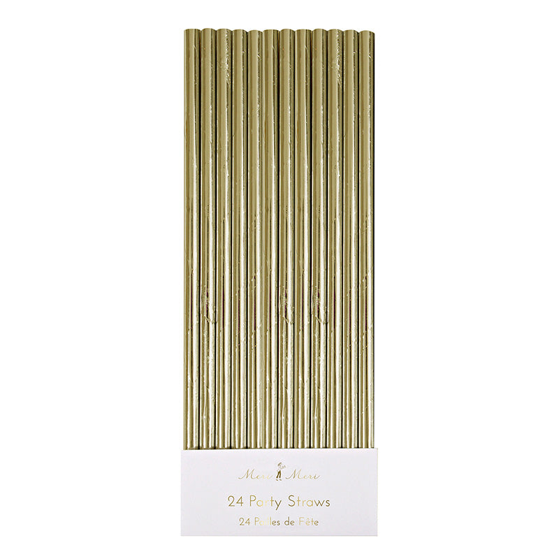 gold foil paper party straws