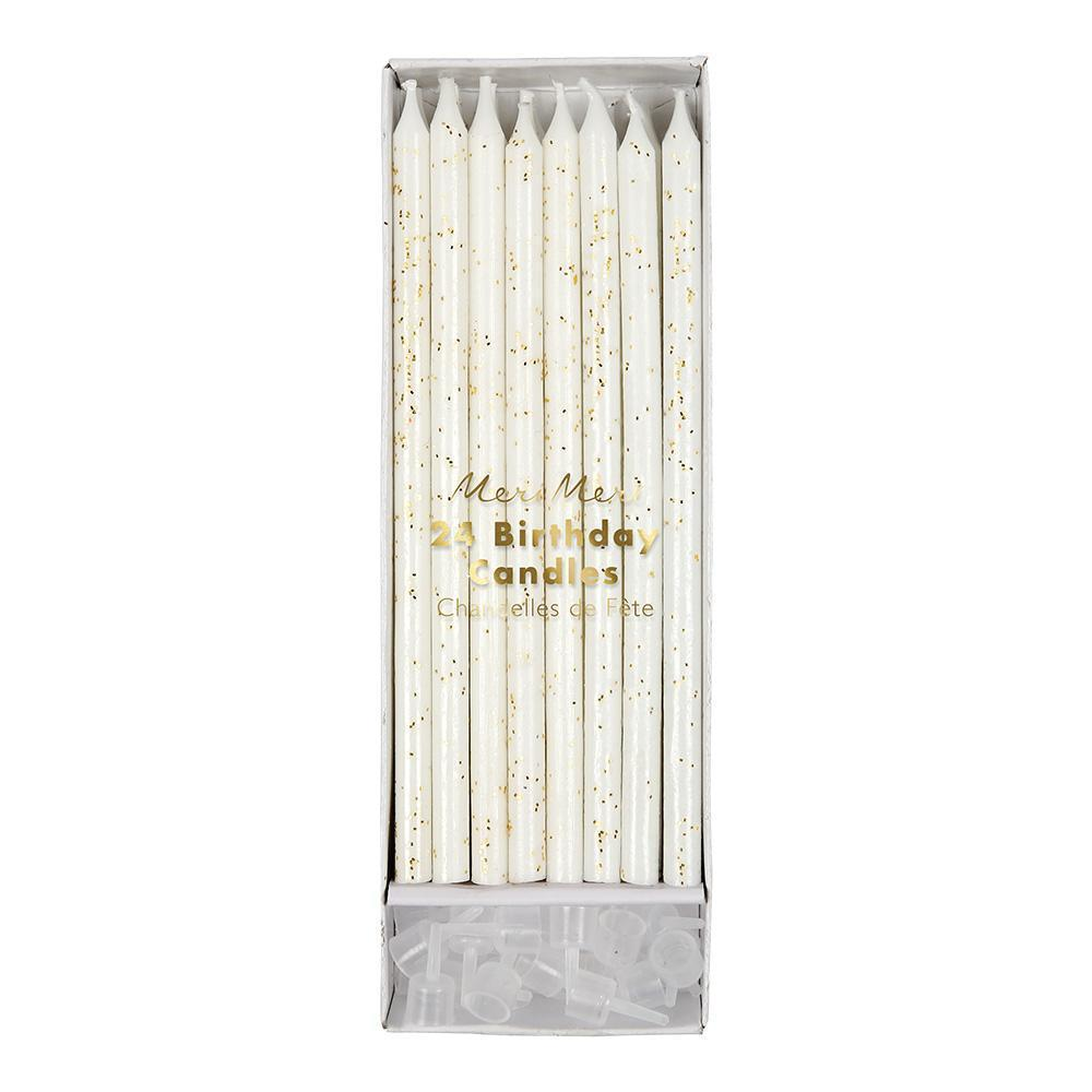 White Cake Candles with Gold Sparkles