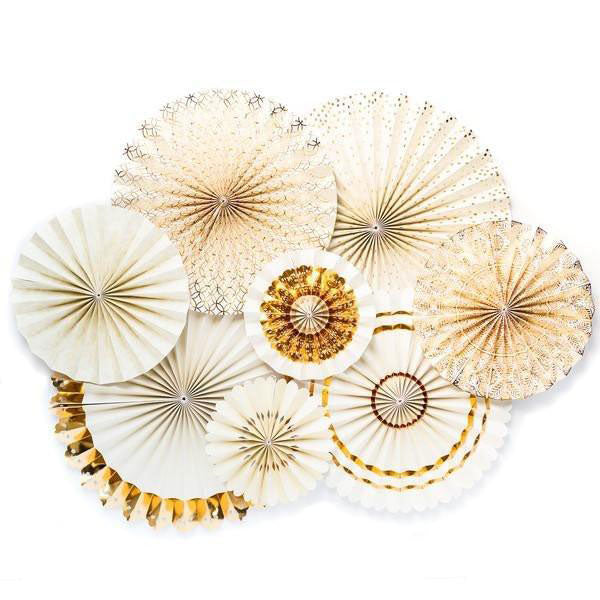 ivory and gold paper fan decorations
