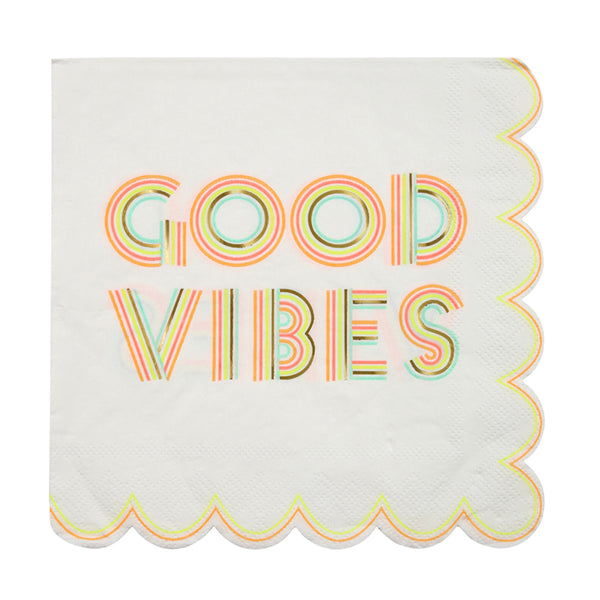 good vibes napkins with neon lettering