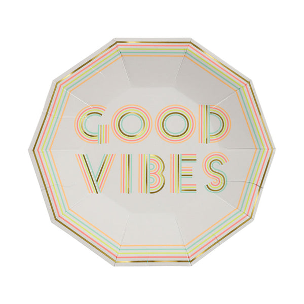 good vibes plates with neon letters