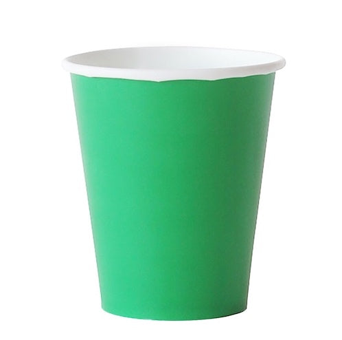 green paper party cups
