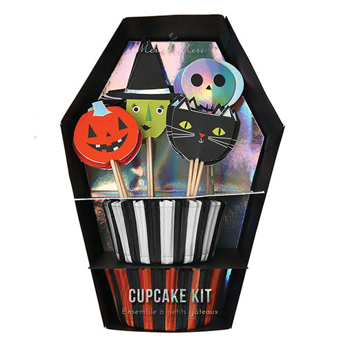 Halloween cupcake kit with liners and spooky toppers