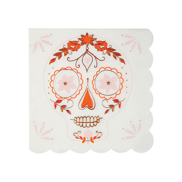 skull paper party napkins with orange and rose gold foil