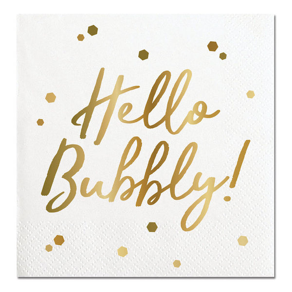 hello bubbly gold foil party napkins