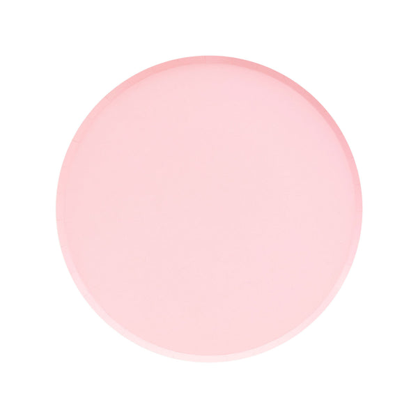 Blush party plates with a delicate rim