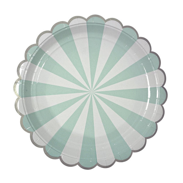 aqua blue party plates with white stripes and silver scallops