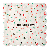 red, green and gold holiday party napkins
