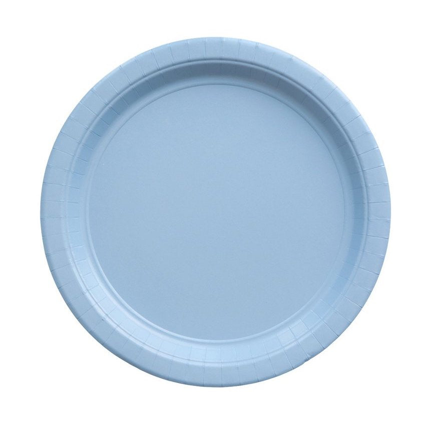 Solid Light Blue Party Plates Against White Background