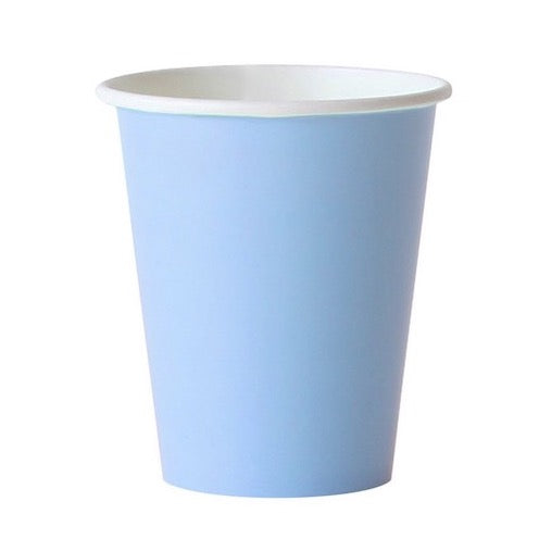 Light Blue Party Cups Against White Background