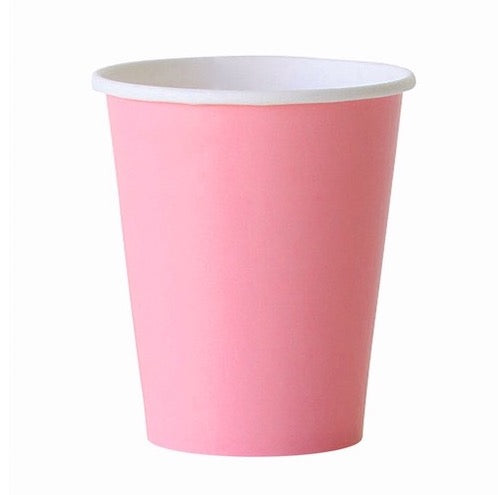 Light Pink Party Cups Against White Background