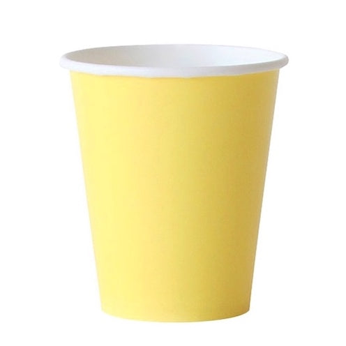 light yellow paper party cups
