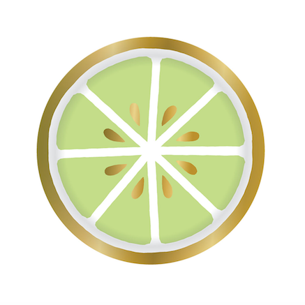 Lime Party Plates embellished in gold foil